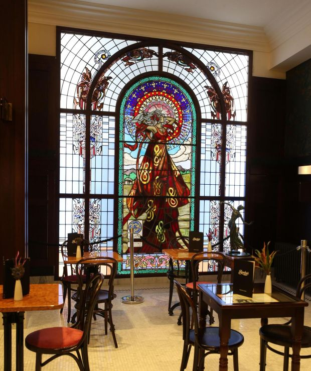 Bewley's of Grafton Street: Jim Clarke's window of Cruithne at the landmark Dublin cafe