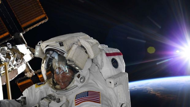 Nasa astronaut Anne McClain did a spacewalk in a large spacesuit, but on reflection decided a medium one would be a better fit. Photograph: Nasa/handout via Reuters