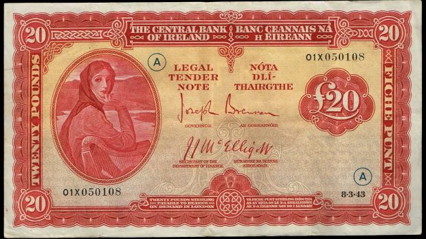Lot 454: Central Bank of Ireland Lady Lavery War Code £20 (€5,000-€6,000) at Whyte's.