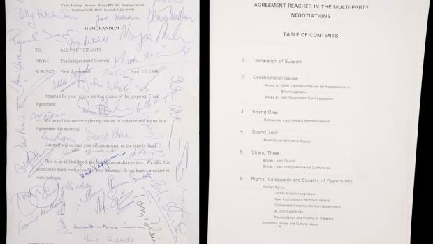 Lot 261: Original signed copy of the final draft of the Belfast (Good Friday) Agreement (€5,000-€7,000) at Whyte's.