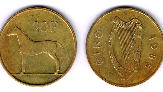 Lot 397: 1985 Trial 20p coin (€5,000- €6,000) at Whyte's.