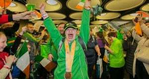 Team Ireland athlete Ciara Joyce from Leixlip at  Dublin Airport on return from the  Special Olympics World Games in Abu Dhabi where Ireland claimed   a haul of 86 medals. Photograph: Gareth Chaney Collins