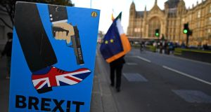 Anti-Brexit activists  demonstrate outside the Houses of Parliament in central London on Wednesday. Photograph: Paul Ellis/AFP/Getty Images