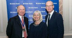 John Cronin, president of the British Irish Chamber of Commerce and Jane Howard, Ulster Bank's CEO, pictured with Tánaiste and Minister for Foreign Affairs and Trade Simon Coveney. Photograph: Paul Sherwood