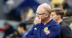 Scotland manager Alex McLeish during the Euro 2020 qualifier match against San Marino. Photo: Alexei Filippov/Reuters
