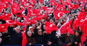Supporters of the Turkey's main opposition party attend a local election rally in Istanbul this week. Local elections are scheduled for March 31st. Photograph: EPA