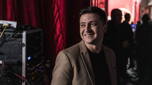 Ukrainian presidential candidate Volodymyr Zelenskiy backstage during the filming of his comedy show Liga Smeha (League of Laughter) in Kiev. Photograph: Brendan Hoffman/Getty Images