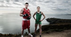 Joe Ward and Síofra Cléirigh Büttner at the announcement that adidas are to become kit supplier to the Olympic Federation of Ireland for 2019. Photograph:   Bryan Keane/Inpho