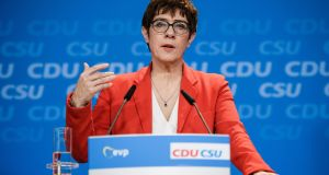 Christian Democratic Union (CDU) party chairwoman Annegret Kramp-Karrenbauer: 'If one wants European security and defence policy, then one has to agree European rules.' Photograph: Clemens Bilan/EPA