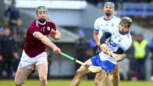 Waterford's Jamie Barron in action against Galway's Cathal Mannion during the league semi-final at Nowlan Park. Photograph: Ken Sutton/Inpho