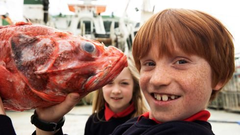 FISH-EYE VIEW: Students from Scoil Shéamais Naofa are seen on a tour of the RV Celtic Explorer as part of the Marine Institute's Explorers Education Programme. Photograph: Andrew Downes/Xposure