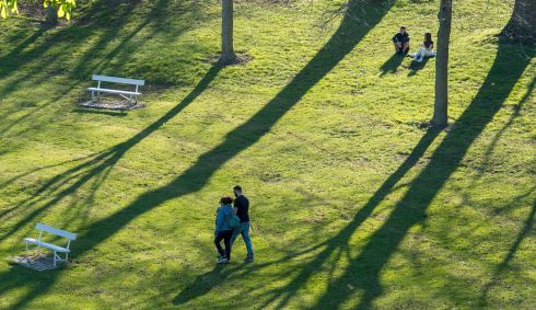 WALK IN THE PARK: Couples sit and stroll in the sun in the Phoenix Park. Photograph: Dave Meehan/The Irish Times