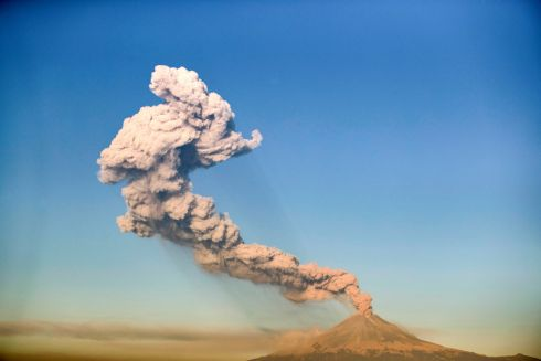 SMOKE SIGNALS: The Popocatépetl Volcano spews ash and smoke, as seen from Puebla, central Mexico. Photograph: Carlos Sanchez/AFP/Getty Images