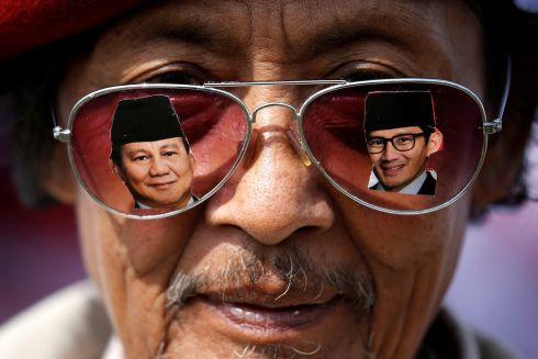 POLITICAL VIEWS: A supporter attends a campaign rally of Indonesian presidential candidate Prabowo Subianto for the upcoming general election, in Bandung. Photograph: Willy Kurniawan/Reuters