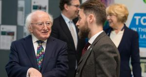 President Michael D Higgins launches the Jean Monnet Centre of Excellence at UCD, with his wife Sabina, Prof Colin Scott and Dr Aidan Regan. Photograph: Dave Meehan