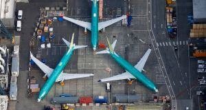 An aerial photo shows Boeing 737 max airplanes parked on the tarmac at the Boeing Factory in Renton, Washington on March 21st. Photograph:  Lindsey Wasson/Reuters