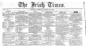 News from the House of Commons and other international political affairs dominate the first edition of 'The Irish Times' on March 29th, 1859.
