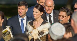 New Zealand prime minister Jacinda Ardern (C) arrives at the national Remembrance Service on Friday. Photograph: Martin Hunter/ EPA