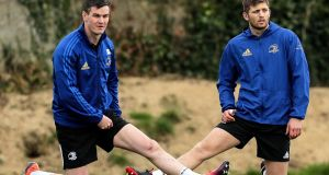Leinster's Johnny Sexton and Ross Byrne in training ahead of the Champions Cup quarter-final meeting with Ulster. Photo: Laszlo Geczo/Inpho