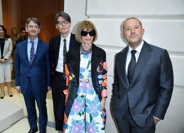 The Metropolitan Museum of Art director Thomas P Campbell, The Costume Institute at the Metropolitan Museum of Art curator Andrew Bolton, Editor and Chief of Vogue Magazine Anna Wintour and Apple chief design officer Jony Ive attend the Manus x Machina: Fashion in an Age of Technology press preview at the Metropolitan Museum of Art on May 2nd, 2016 in New York City. Photograph: George Pimentel/WireImage