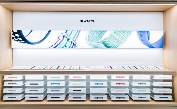 Apple Watch bands are displayed at the Apple store in Macau, China. Photograph: S3studio/Getty