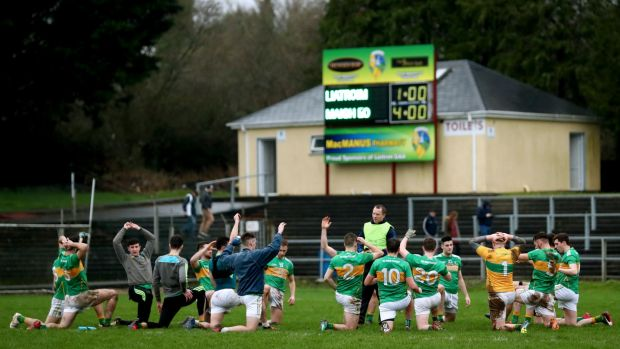 The Leitrim team warm down after their penalty shootout defeat to Mayo in January. Photo: James Crombie/Inpho