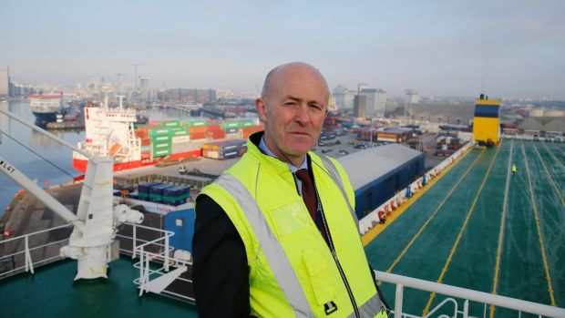 Dublin Port Company chief executive Eamonn O'Reilly on board 'MV Laureline'. Photograph: Nick Bradshaw