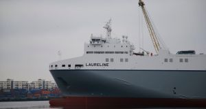 'MV Laureline' in Dublin Port ahead of its first direct journey to mainland Europe on Friday. Photograph: Nick Bradshaw