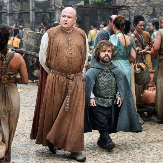 Game of Thrones: Lord Varys (Conleth Hill) with Tyrion Lannister (Peter Dinklage)