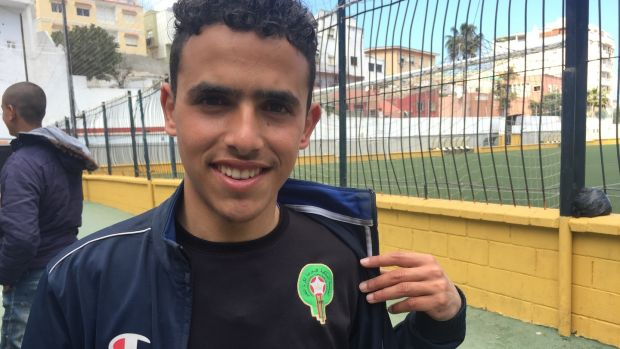 Imad, a young Moroccan migrant, at a football training session organised by the local authorities in Ceuta. Photograph: Guy Hedgecoe