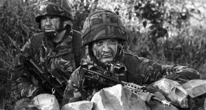November 1987: British soldiers at a look-out post near Crossmaglen, south Armagh. Photograph: Matt Kavanagh