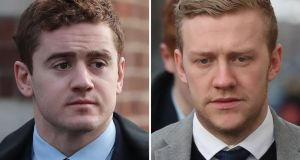 Former Ireland and Ulster rugby players Paddy Jackson and Stuart Olding, who were acquitted of rape following a trial last year. File photographs: Niall Carson/PA Wire