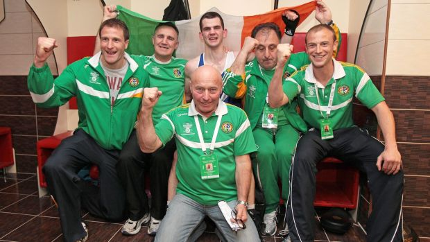 Performance psychologist Gerry Hussey with boxing coach Billy Walsh, team manager Des Donnelly, Irish boxer Adam Nolan, coach Zaur Anita and team physio Conor McCarthy, at the 2012 London Olympic Games. Photograph: Cathal Noonan/Inpho