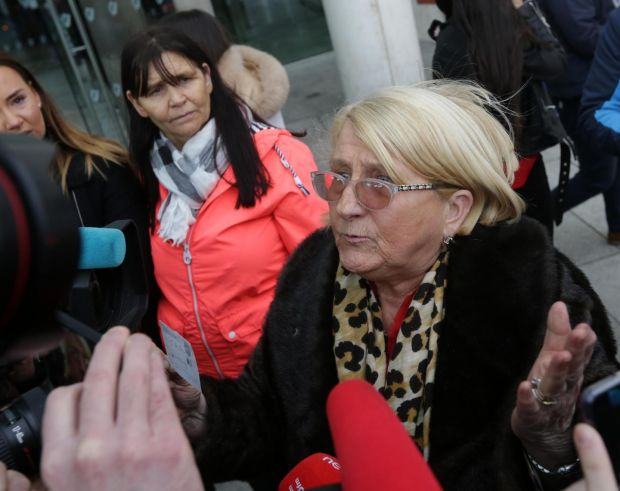 Regency trial: Liam Byrne's mother, Sadie, speaks to the media outside court. Photograph: The Irish Times