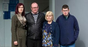 Jillian Thornton's family outside Trim Circuit Court. From left to right: Jillian's sister Elaine, father Derek, mother Lorraine and brother Derrick. Photograph: Ciara Wilkinson