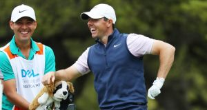 Rory McIlroy shares a laugh with  his caddie Harry Diamond on the seventh tee during the third round of the World Golf Championships-Dell Technologies Match Play at Austin Country Club in Austin, Texas. Photograph: Warren Little/Getty Images