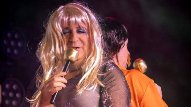 Michael Collins TD as Agnetha from Abba: his latest gig is in aid of the Jack and Friends Autism Support Centre in the Bandon.