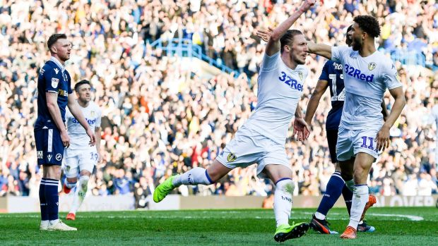 Luke Ayling celebrates scoring Leeds United's second goal during the Championship match against Millwall at Elland Road. Photograph: George Wood/Getty Images