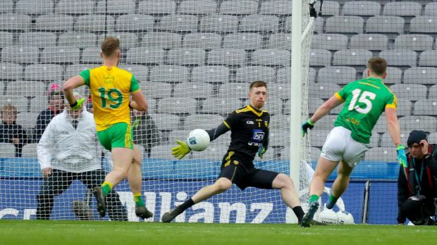 Meath's Thomas O'Reilly scores the first goal of the match at Croke Park. Photograph: Oisin Keniry/Inpho
