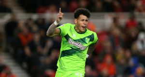 Norwich City's Onel Hernandez celebrates scoring his side's  goal in  the Championship match against Middlesbrough at the Riverside Stadium. Photograph:  Richard Sellers/PA Wire