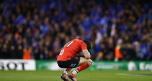 A dejected  Jacob Stockdale at the final whistle of Ulster's   Heineken Champions Cup quarter-final defeat to Leinster at the Aviva stadium. Photograph: Michael Steele/Getty Images