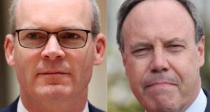 Tánaiste Simon Coveney (left) has said that the DUP has not represented Northern Ireland following the unionist party's deputy leader Nigel Dodds' (right) comments. Photographs: Yves Herman/Reuters and Niall Carson/PA Wire