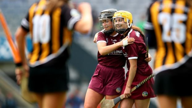 Galway's Lorraine Ryan and Anne Marie Starr celebrate their win over Kilkenny at Croke Pak. Photograph: James Crombie/Inpho