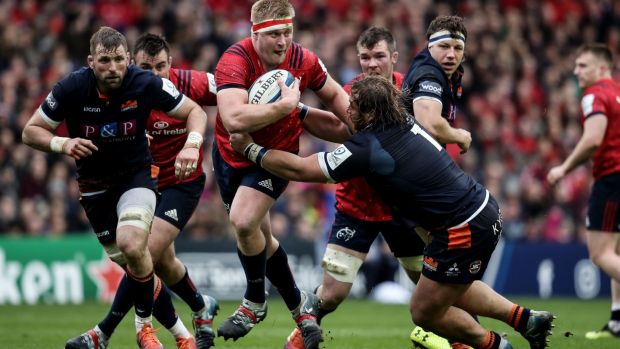 Munster's John Ryan in action with with Pierre Schoeman of Edinburgh. Photograph: Dan Sheridan/Inpho