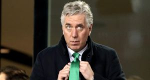 FAI executive vice president John Delaney adjusts his tie during Ireland's Uefa Euro 2020 qualifying match against Georgia at the Aviva Stadium in Dublin on March 26th. Photograph: Niall Carson/PA Wire