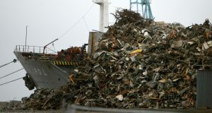 A mountain of scrap metal in Liverpool docks awaiting export to foundries and metal merchants abroad. Photograph:  Christopher Furlong/Getty Images