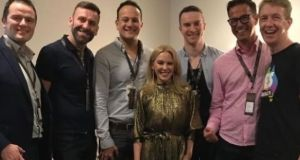 An Taoiseach Leo Varadkar, Mr Varadkar's partner Matt and friends with Kylie Minogue at the singer's gig at the 3Arena last year. Photograph: Tiernan Brady/Twitter