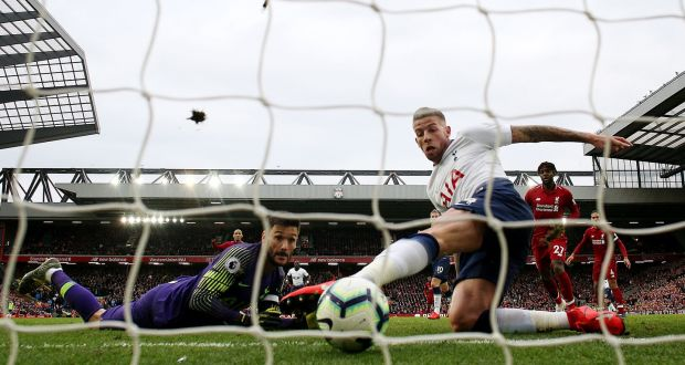 f74dcaa65ff Tottenham s Hugo Lloris and Toby Alderweireld look on as Liverpool take a  2-1 lead