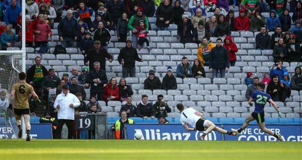 89548ac916c Mayo's Ciaran Treacy scores a goal. Photo: James Crombie /Inpho