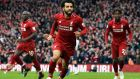 Liverpool's Mohamed Salah  celebrates his team's 2-1 lead against  Spurs. Photograph: EPA/Peter powell